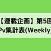 【連載企画】第5回 Pv集計表(Weekly)~4月26日~