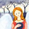水彩イラスト 天使女性