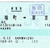 乗車券 馬喰町→東京 「磁気無効化された乗車券」
