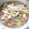 表面の薄皮剥いた大根で、ささみ雑穀スープ
