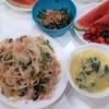 7/24(金)の夕飯☆野菜炒め(うどん入り)ツルムラサキの卵スープ、刻みモロヘイヤ