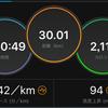 久々の30km走(エネルギー切れきつかった)