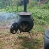 薪ストーブ原生代54 野外ストーブでジャム作り・栗の杭でほだ木スタンド
