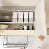 【収納の見直し】キッチン上の収納、極狭だけどスッキリ整理の工夫。