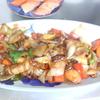 幸運な病のレシピ( 1112 )朝 :酢豚、焼き鮭、餃子のパテー>昼に餃子、焼きそば