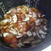 幸運な病のレシピ( 2083 )朝:タケノコご飯、鮭、味噌汁、マユのご飯