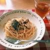 お昼ごはん▶︎さば缶de和風パスタ(可愛い子には青魚を食わせろ!)