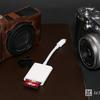Apple Lightning-SDカードカメラリーダーを使うと、デジカメから無線で写真をiPhone、iPadに送ることが実は5度手間だったことに気づく。全員買うべき必需品。