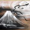 陶板龍画 霊峰と黒龍