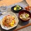 天津飯、豚汁、アボカドとキムチ