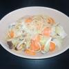 ホットクック 失敗レシピ スープパスタコースを使って調味料塩だけで、ワンポットミルクパスタ(1人分)