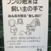 犬の肛門と猫の目つきが印象的な貼り紙