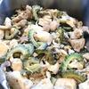 鶏肉とゴーヤ、きのこの黒酢煮 / 丸ズッキーニとセロリの塩昆布マリネサラダ / ほうれん草と豆腐、みょうがのスープ
