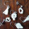簡単ですぐできる!レース糸で作るピアス3種。かぎ針の輪の作り目と、タッセルの作り方も。