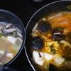 キムチ鍋、水炊き、セロリの箸休め