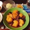 たことじゃがいもの煮物🐙残った煮汁を使ってたこ飯ができた(∩´∀`)∩