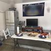 【ガレージをお部屋に改造】TVとグリルを設置しました!