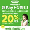 LINE Payの平成最後の20%還元の注意点