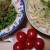 今朝の温野菜サラダミニトマト付き