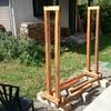 薪ストーブ原生代⑫ 可変式移動式薪棚の設置