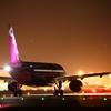 peach機。鹿児島空港。