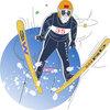スキージャンプイラスト 冬期オリンピックイラスト 冬のスポーツイラスト