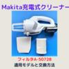 Makita充電式クリーナー用フィルタの適用モデルと交換方法!!