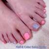 初夏らしく♪営業再開しています♡元気と清涼感のあるピンク&ライトブルーペディ☆フットジェル