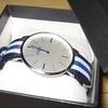d0014 COMTEX 腕時計 ブルー ナイロンベルト アナログ スイス製ムーブメント 男女兼用 薄型 6mm ウォッチ ホワイト 時計 メンズ