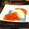 豊洲の「米花」でいくら明太おろし、茄子味噌、ハムと玉ねぎ炒め。