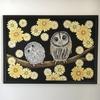 チョークアート*A3サイズの「フクロウの親子」
