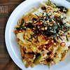 キャベツと長ネギの梅風味スパゲッティ
