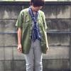 今日の服|オリーブ×ライトなモノトーンで晩夏のさわやかミリタリー風コーデ