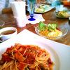 ベーコンとシメジのトマトスパゲティ