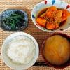 かぼちゃのそぼろ煮、和食な夕ごはん。
