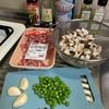 椎茸と粗挽き肉の中華風パスタ