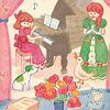 かわいい音楽会_ピアノと動物の水彩イラスト