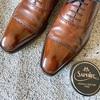 スコッチグレインの革靴に鏡面磨きを