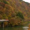 晩秋の磐越西線(3):大巻橋梁,黄葉とキハ40と。