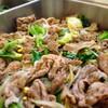 豚肉とキャベツ、豆もやしのピリ辛ゴマソース