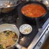 幸運な病のレシピ( 2168 )朝  :トマトと豆のスープ(ガスパチョ風)、キュウリ醤油漬け、マユのご飯