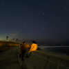 海辺で星景