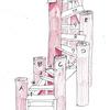 S字の丸太階段