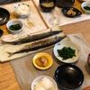 ごはん、秋刀魚、キャベツと揚げの味噌汁、長芋のバター醤油焼き、ほうれん草のおひたし