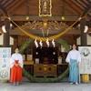 夏越大祓の「茅の輪」を拝殿向拝に設置しました