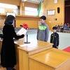 卒業式予行練習 表彰伝達 記念品授与式・同窓会入会式