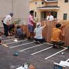柵工事.        Neuer Kindergarten Gelände bauen