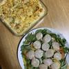 【料理】母の日ディナー(エビマカロニグラタンとサラダ)【料理が苦手でも失敗しない】