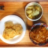 鯖カレー、ツナ落とし焼き、粉吹き芋