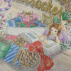 くるみ割り人形【クリスマスリースの塗り絵】背景を木目調にしてみた